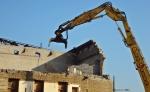 Demolition crane bite.