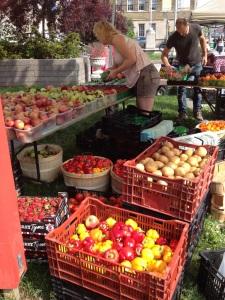 Produce at farmers market.