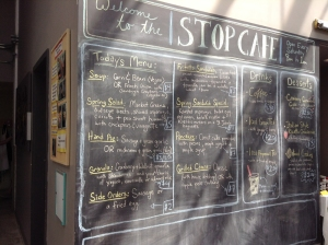 The Stop chalk menu board