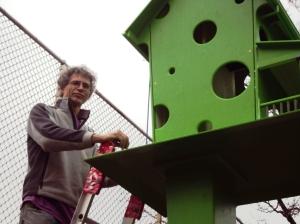 Alex Moyle and his birdhouse