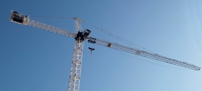 Construction crane in sky.