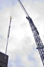 Crane with hook.