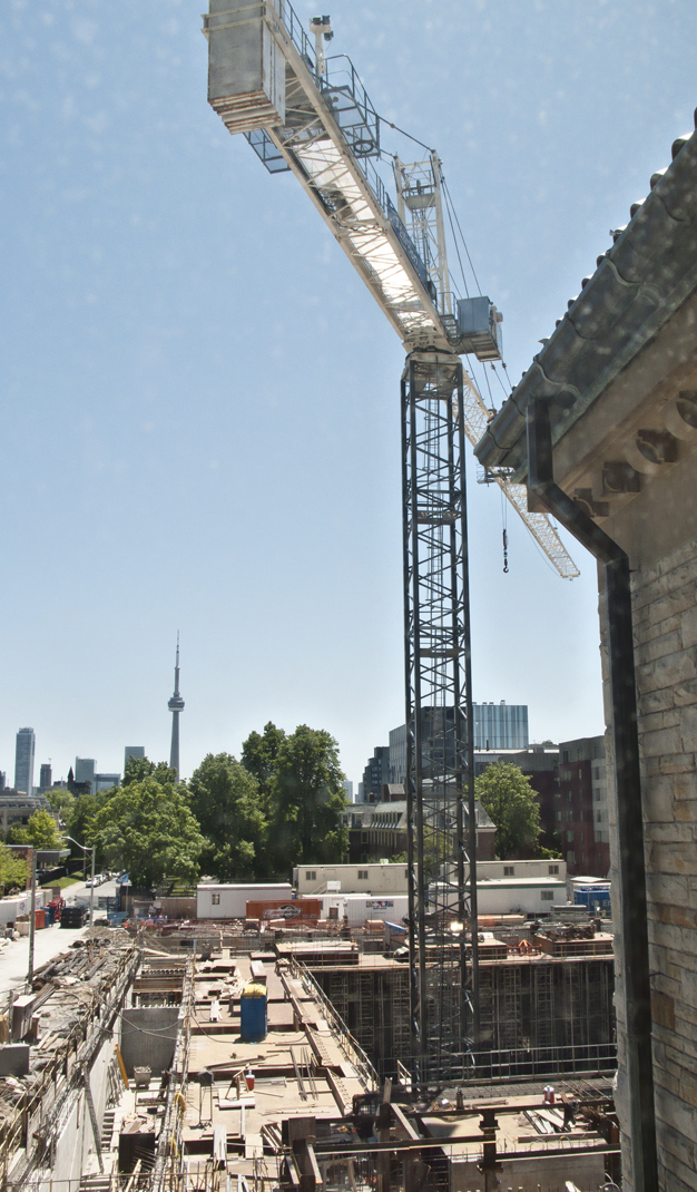 Crane and CN tower from Munk centre.