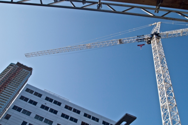crane against blue sky