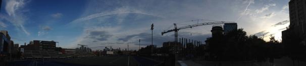 Crane at twilight.
