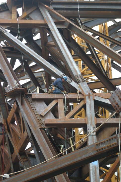 Ironworker on construction of the addition to the ROM.