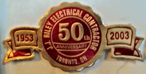 JJ Riley Electrical Contractor anniversary medallion.