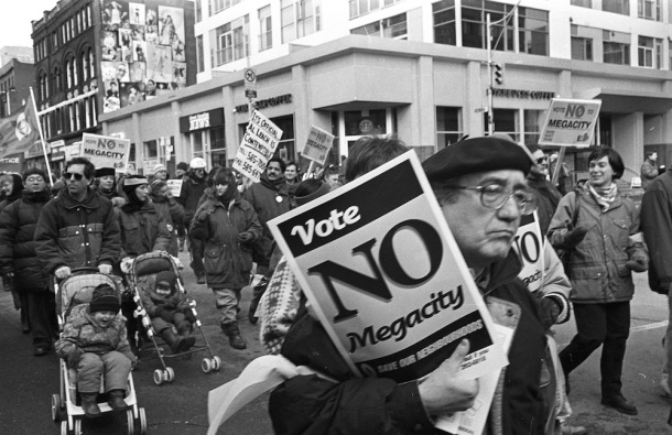 Demonstration in Toronto against the Megacity.
