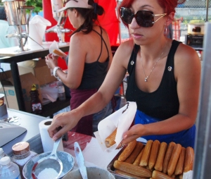 Serving churros.