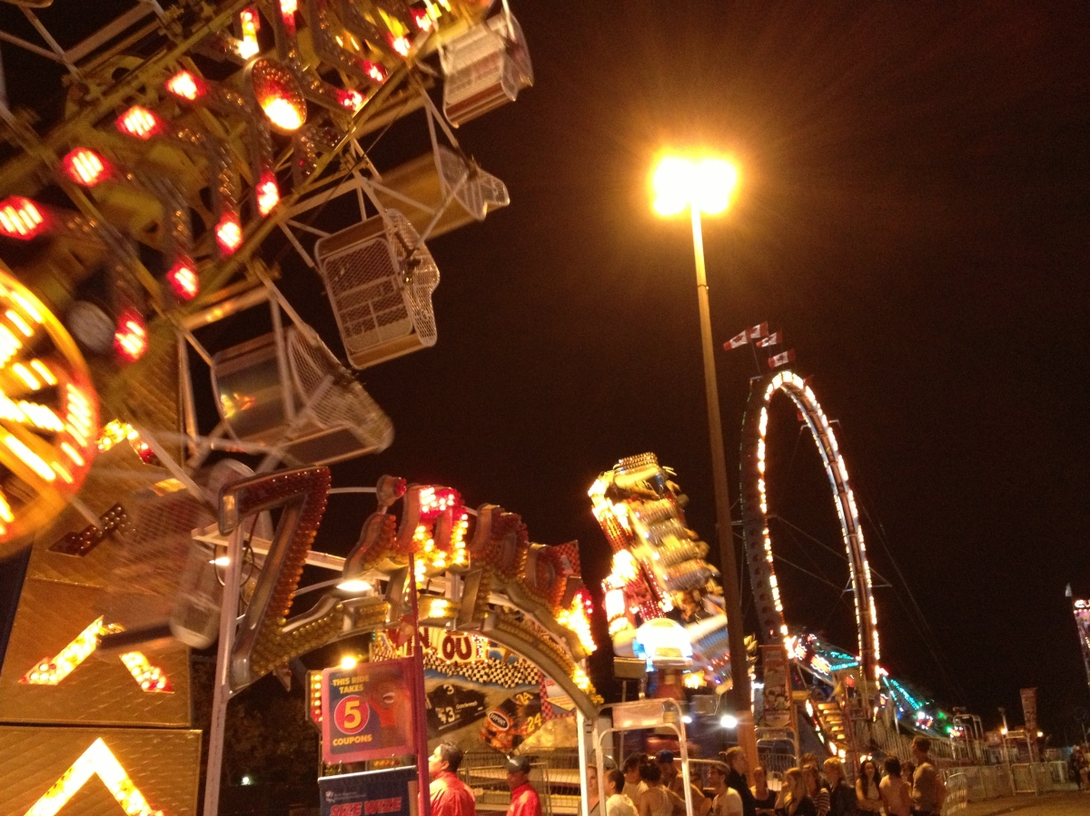 Rides at the CNE lit up at night.