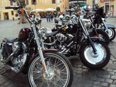 Harleys parked in Rome