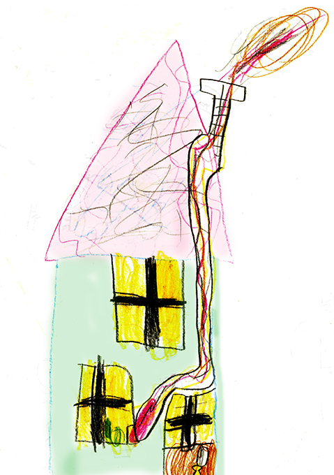 Child's drawing of a house.