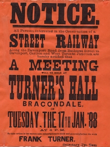 Historic poster about urban railroad meeting.