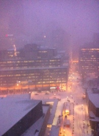 Snowstorm in downtown Toronto.