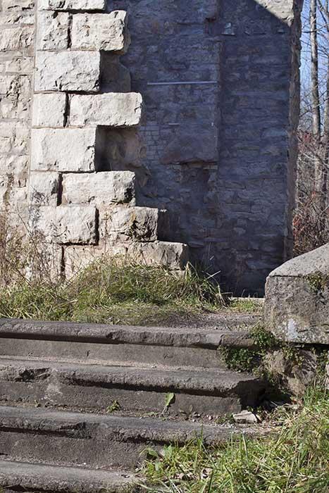 Ruined stone house.