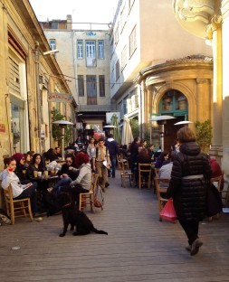 Street of cafes in Nicosia.