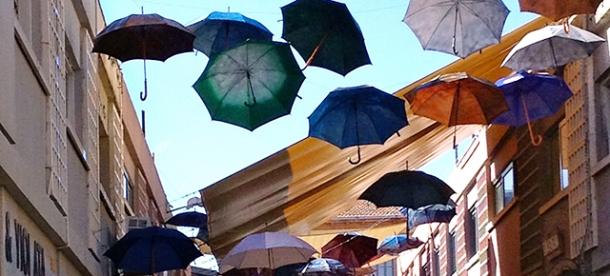 Umbrellas across a Nicosia street.