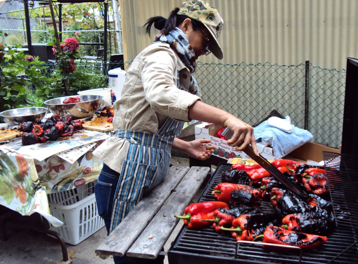 Roasting peppers on the grill.