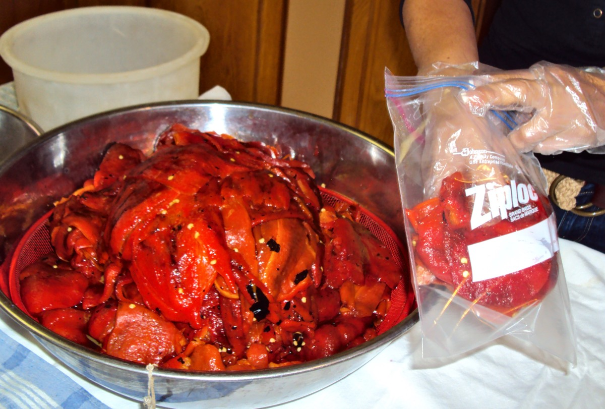 Packing the peppers.