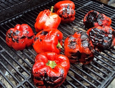 Peppers on the grill.