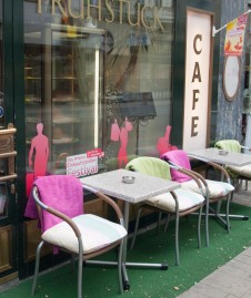 Blankets on cafe chairs in VIenna.