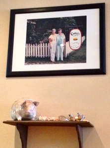 Framed photo of country restaurant proprietors.