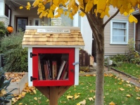 Littlest Free Library under a tree
