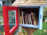Littlest library door open.