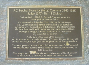 Commemorative plaque at 11 Division Police station.