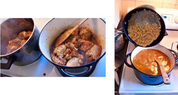 Frying chicken and adding grains.