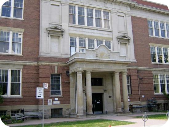 Front facade of Regal Road school.