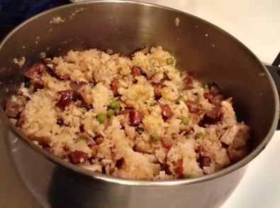 Chinese rice dish in pan.