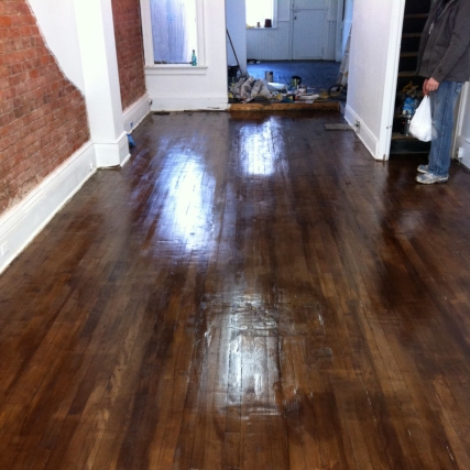 Refinished floors at Boxcar Social.