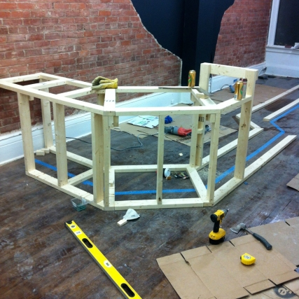 Frame for bar at Boxcar Social.