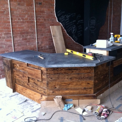 Bar nearly complete at Boxcar Social.