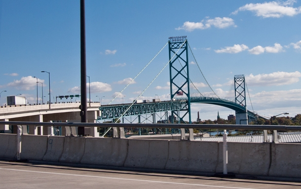 The Ambassador Bridge at the Detroit-Windsor border crossing.