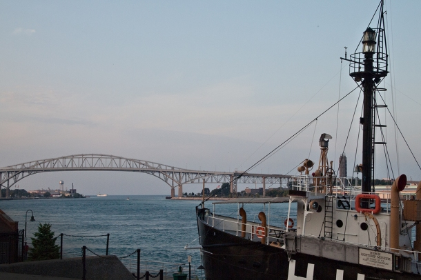 Blue Water bridge with docked ship.