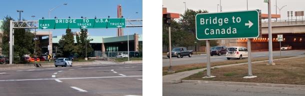 Road signs to bridges at international borders.