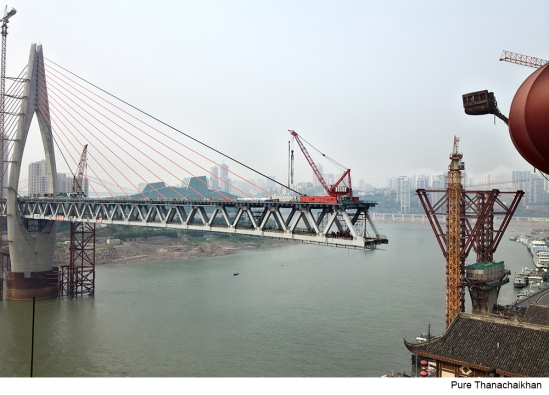 Chongqing bridge under construction in China.