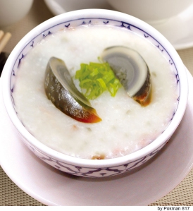 Pork congee with preserved egg.