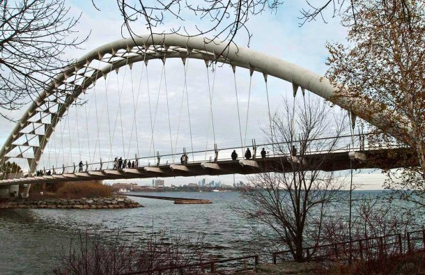 Humber River Pedestrian bridge in Toronto.