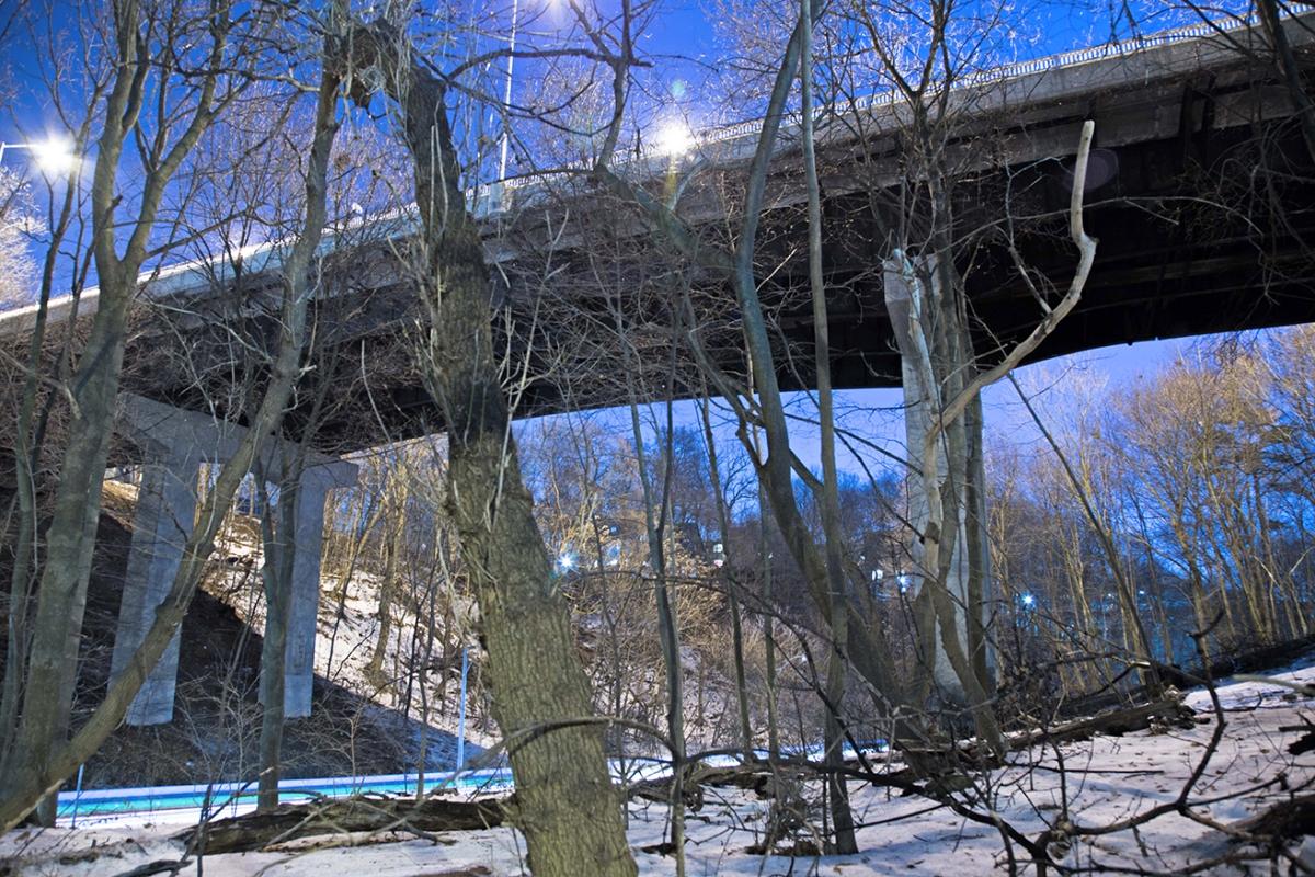 Looking up under the bridge over Rosedale Ravine in Toronto.