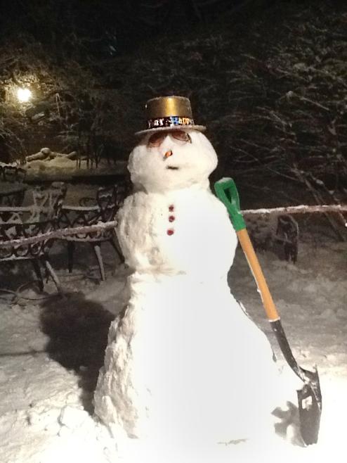 Snowman in the backyard.