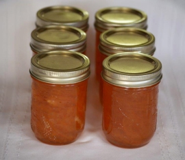 Jars of Seville orange marmalade.