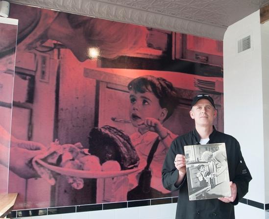 Roast butcher holding photo.