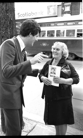 Portuguese-Canadian candidate Bill Moniz canvasses voters on Ward 4 during his campaign for city alderman in the 1978 Toronto municipal elections. Photo by Gilberto Prioste, York University Libraries, Clara Thomas Archives & Special Collections, Domingos Marques fonds, F0573, ASC06678.