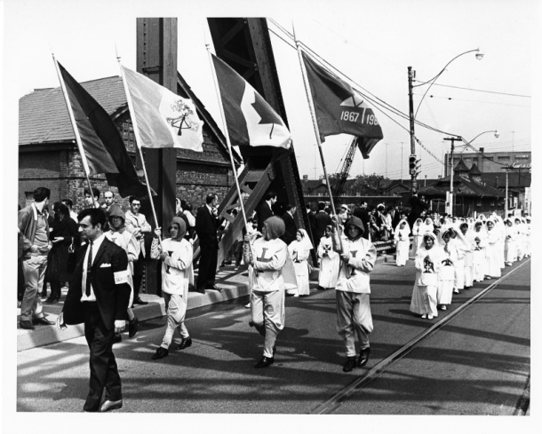 The Senhor Santo Cristo is one of the most important and largest events in the liturgical calendar of Azorean Catholics. Its procession was first introduced in Toronto in 1966 by the powerful priest Alberto Cunha, head of St. Mary's Roman Catholic parish. Photo by Leo Harrisson, York University Libraries, Clara Thomas Archives & Special Collections, Toronto Telegram fonds, F0433, ASC08319.