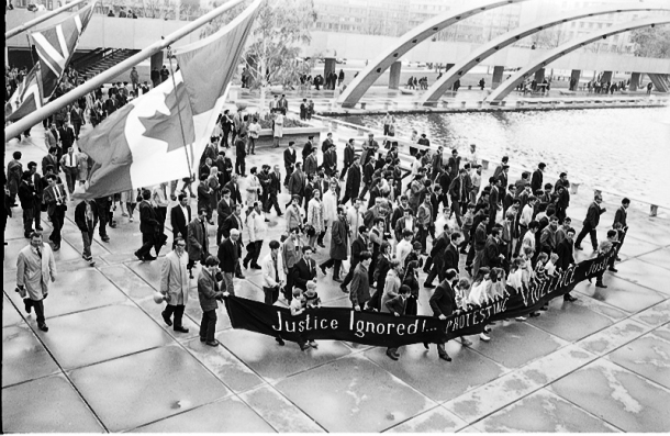 Portuguese immigrants protesting police violent on Nathan Phillips Square, May 17, 1969. Photo by Jim Kennedy, York University Libraries, Clara Thomas Archives & Special Collections, Toronto Telegram fonds, F0433, ASC08235.