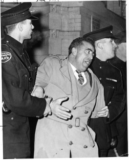 Pro-Salazar protester being arrested by Metropolitan Police Toronto outside the Portuguese Consulate on Bay St., January 29, 1961. Photo by Proulx, York University Libraries, Clara Thomas Archives & Special Collections, Toronto Telegram fonds, F0433, ASC27215.