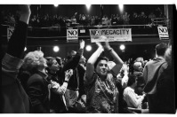Inside Massey Hall at No Megacity rally.